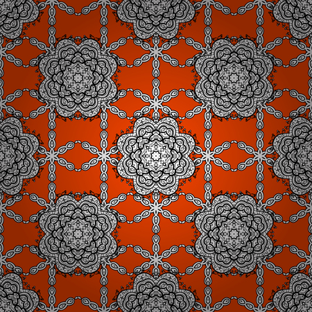 Seamless white pattern. Vector oriental ornament. Seamless pattern on orange background with white elements. Illustration