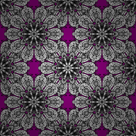 Traditional orient ornament. Classic vintage background. Classic vector white seamless pattern. Seamless pattern on magenta background with white elements.