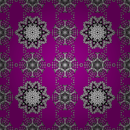 White pattern on a magenta background with white elements. Ornate decoration. Vector vintage baroque floral seamless pattern in white. Luxury, royal and Victorian concept.