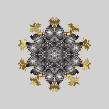 Snowflakes and dots on gray background. Vector abstract design in colors. Golden elements with doodles.