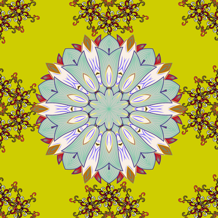 Vector illustration. Abstract Mandala on a colorful background.