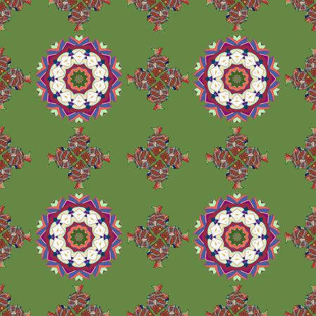 이슬람, 아랍어, 인도, 화려한 배경에 오스만 주제. 꽃 만다라 원활한 패턴입니다. 벡터 민족 동양 서클 장식입니다. 일러스트