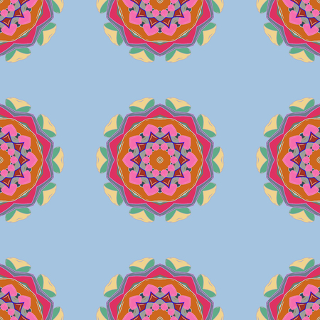 Vector seamless pattern tile with mandalas. Vintage decorative elements. Perfect for printing on fabric or paper. Hand drawn sketch on colorful background. Islam, Arabic, Indian, ottoman motifs. Illustration