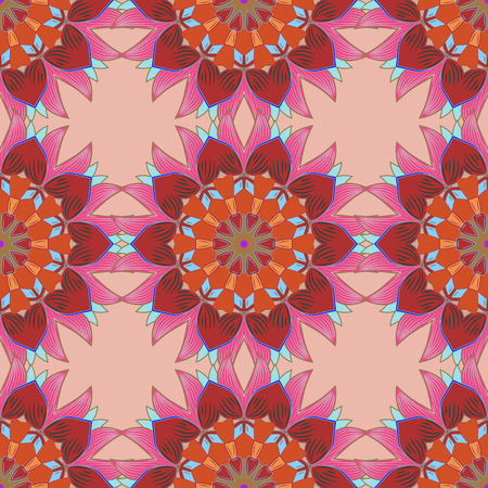 admirable: Seamless pattern can be used for sketch, web page background, surface textures. Seamless pattern with flowers. Vector ornate zentangle texture, endless pattern with abstract flowers.