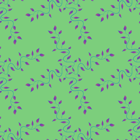 Elegant seamless pattern with decorative leaves in blue colors. Vector floral pattern for wedding invitations, greeting cards, scrapbooking, print, gift wrap, manufacturing fabric and textile. Illustration