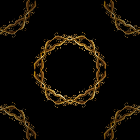 intertwined: Seamless classic vector golden pattern. Traditional orient ornament, classic vintage background. Seamless pattern on black background with golden elements.