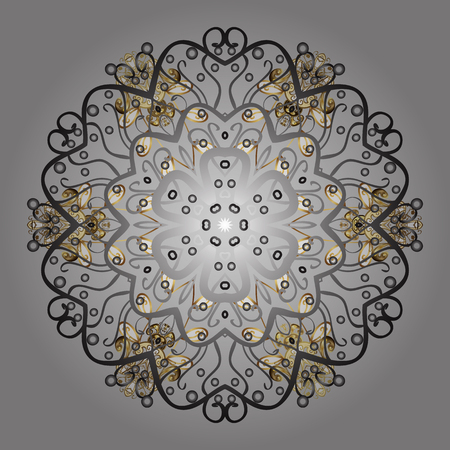 Golden elements. Vector for holiday Thanksgiving day, a simple hand-drawn winter design on gray background in colors. Illustration
