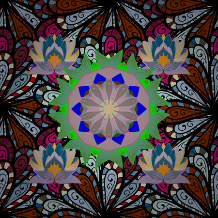 kundalini: Background. Zentangle style. Mandala flower coloring book for adults Vector illustration. Lace seamless pattern. Anti-stress coloring for adult.