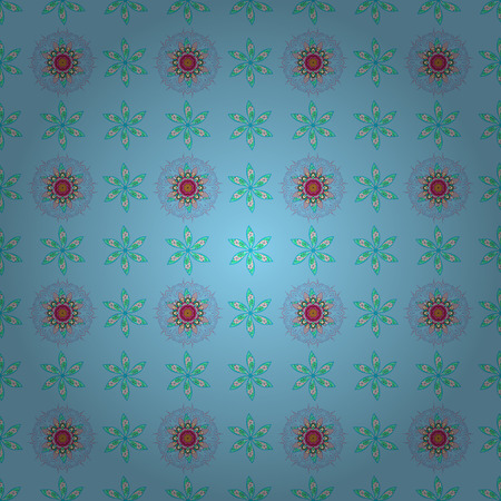 Vector seamless colorful floral pattern. Hand drawn floral texture, blue decorative flowers.