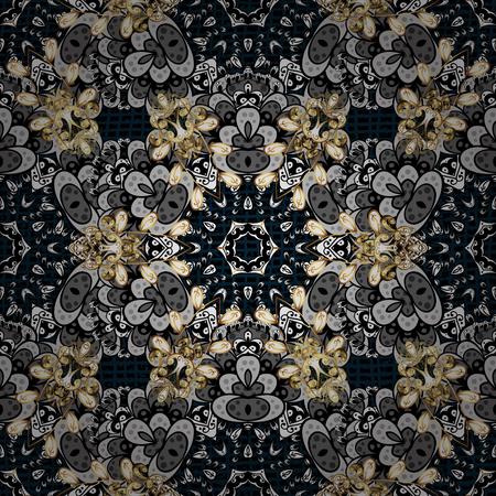 attern: Oriental style arabesques. ?attern on blue background with golden elements. Vector golden pattern. Golden textured curls.