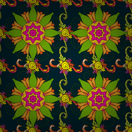 Floral seamless pattern with bright summer flowers in blue and pink colors. Illustration