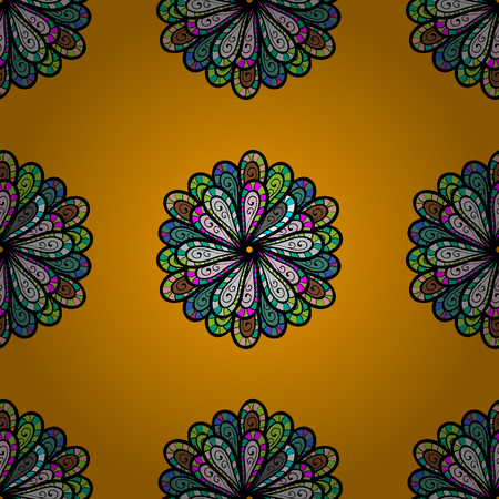 Decorative round ornament. Anti-stress therapy pattern. Vector outline Mandala on a yellow background. Unusual flower shape oriental. Weave design element. Yoga logo, background for meditation poster.