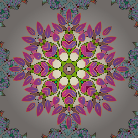 metaphysical: Vector Mandala on colorful background. Boho style flower seamless pattern. Tiled mandala design, best for print fabric or papper and more.
