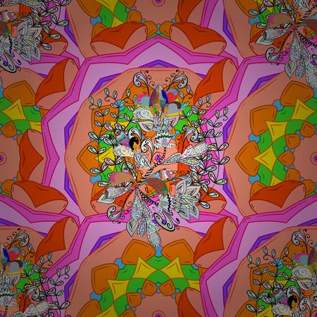 Vector illustration. Decorative design element filigree calligraphy. Retro pattern antique style acanthus. Vintage baroque mandala ornament on a colorful background.