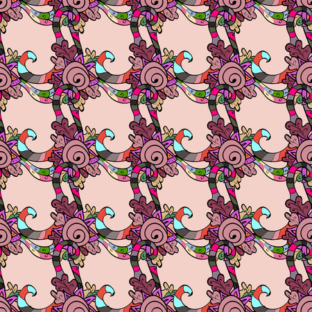 Floral ornament brocade textile pattern, glass, with floral pattern with colorful elements. Illustration
