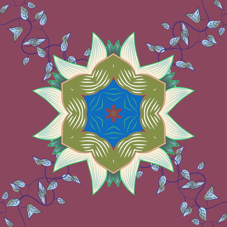 elaborate: Art, round, colorful ornament on a blue background. Ornate, eastern mandala with colored contour.