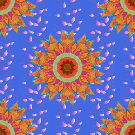 autumn colouring: Blue background with colored ornament mandala, based on ancient greek and islamic ornaments. Illustration