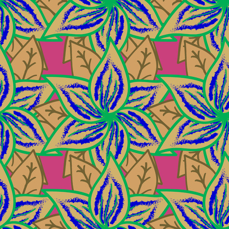 ethno: Multicolor ornament of small simple blue flowers, vector abstract seamless pattern for fabric or textile design.