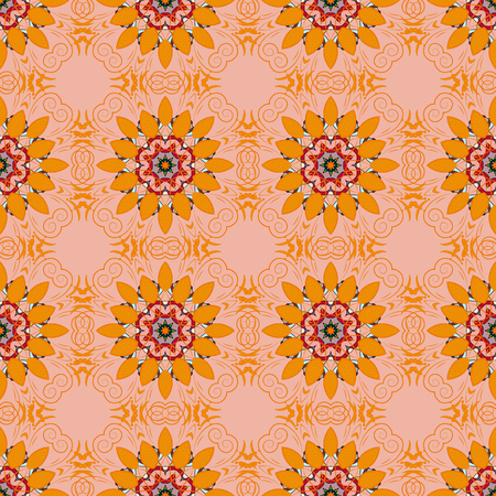 Seamless pattern with flowers on motley background. Vector illustration of blue flowers.