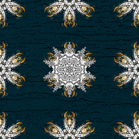 tillable: Vector abstract background with repeating elements. Golden pattern on blue background with golden elements. Damask classic white and golden pattern.
