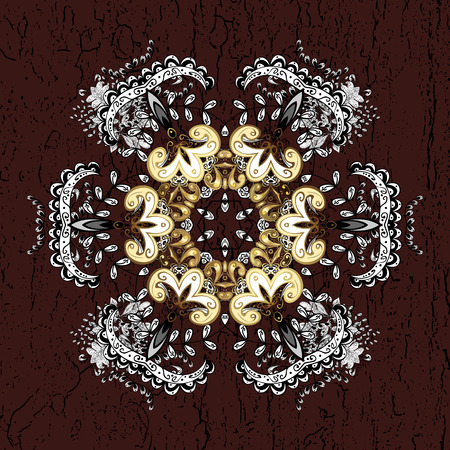 Golden snowflake simple pattern. Abstract sketch, wrapping decoration. Symbol of winter, Merry Christmas holiday, Happy New Year 2018. Vector golden pattern on brown background with golden elements