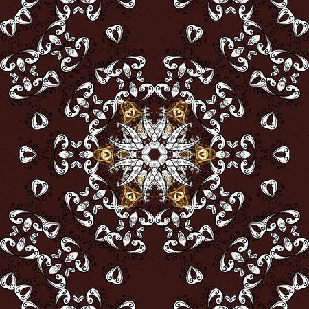 attern: ?attern on brown background with golden elements. Oriental style arabesques. Golden textured curls. Vector golden pattern.