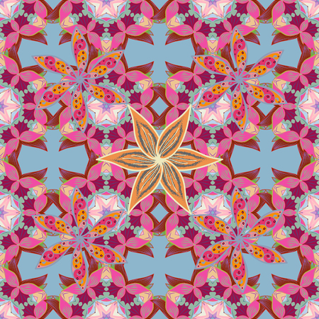 intertwined: Vector circular abstract mandalas pattern. Colored Mandala on a white baqckground. Round ornament with intertwined branches, flowers and curls. Arabesque.