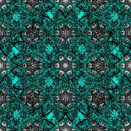 intertwined: Traditional orient ornament. Ornamental pattern on blue background with black elements. Classic vintage background. Ornamental classic vector black pattern.
