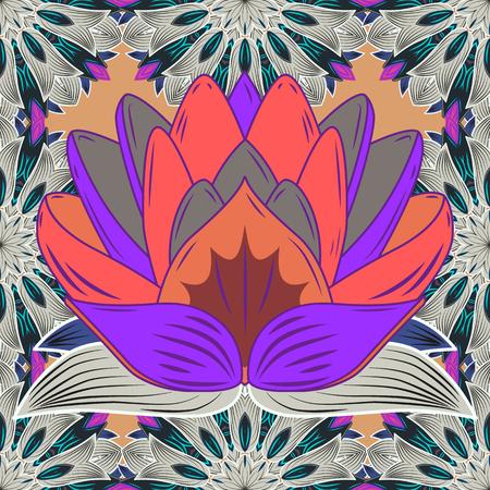Vector Hand drawn zentangle floral purple background. Seamless pattern ethnic mandalas, doodle background circles. Purple pattern.