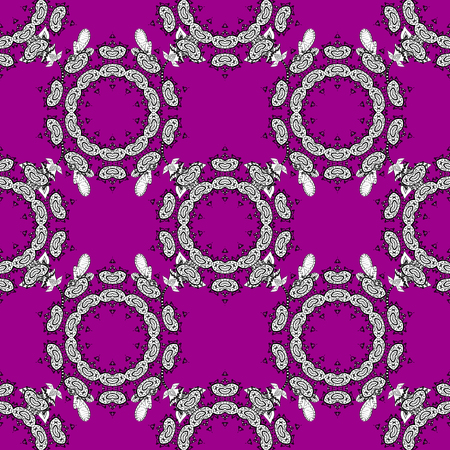 pattern: Floral ornament brocade textile pattern, glass, with floral pattern on magenta background with white elements. Classic vector seamless pattern.