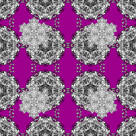 Christmas 2018, snowflake, new year. Vintage seamless pattern on a magenta background with white elements.