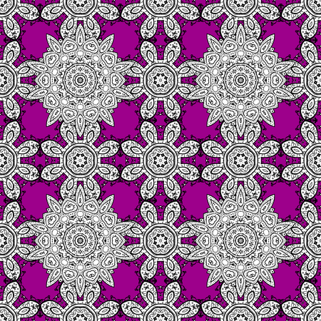 Ornamental floral elements with henna tattoo, whiteen stickers, mehndi and yoga design, cards and prints. Pattern on magenta background. Vector white mehndi seamless pattern. Illustration