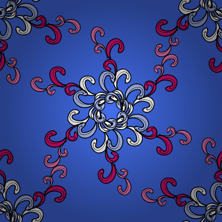 Colorful outline floral decor. Line art seamless border for design template. Vector illustration for invitations, cards, web page. Colorful element on blue background. Eastern style element.