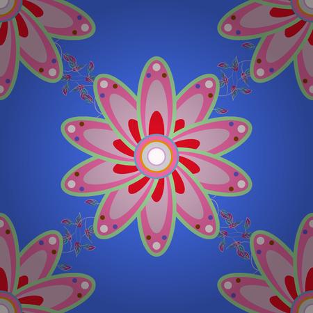 Vector Mandala Blue Background Boho Style Flower Seamless Pattern Tiled Design