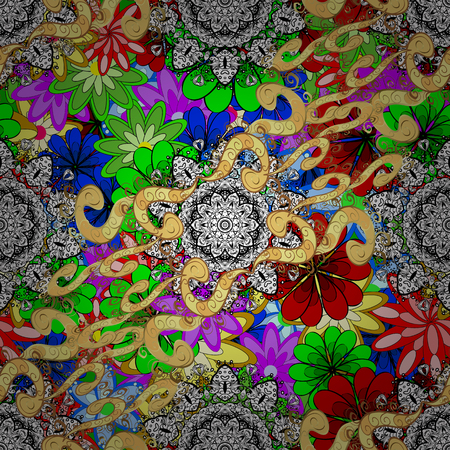 glorious: Decorative colored round ornament. Anti-stress mandala. Oriental flourish vector. Yoga logo, background for meditation poster. Colorful mandala. Indian flower mandala. Illustration