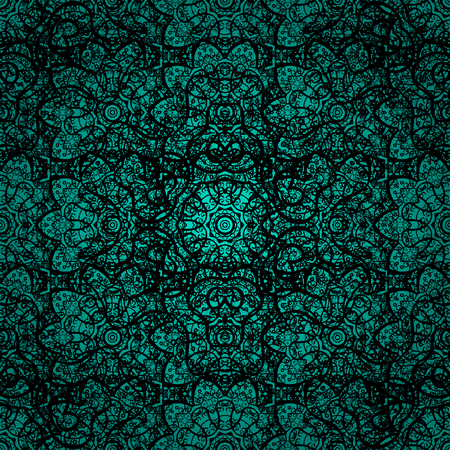 Ornamental pattern on blue background with black elements. Traditional orient ornament. Classic vector black ornamental pattern. Classic vintage background.