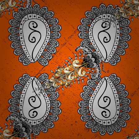 Openwork delicate pattern. White texture curls. Oriental style arabesques. Brilliant lace, stylized flowers, paisley. Vector. ?attern on orange and white background with white elements. Illustration