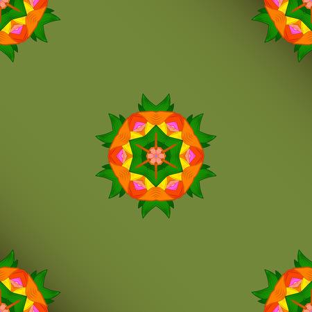 Hand painted vector mandala, colored on green background, indian peacock, indian pattern, colored mandala, mandala peacock.