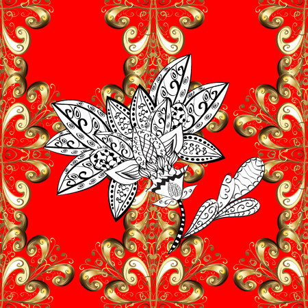Traditional orient ornament. Classic vintage background. Vector illustration. Seamless classic vector golden pattern. Seamless pattern on red background with golden elements. Illustration