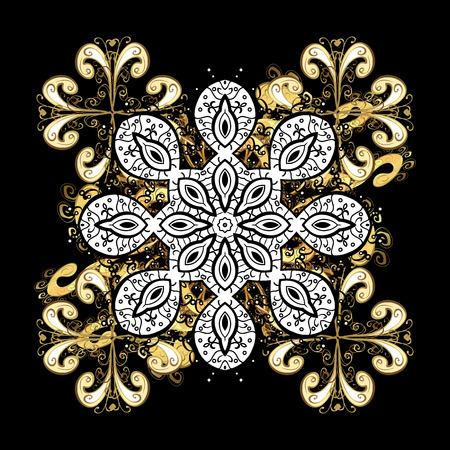 New Year 2018 collection. Black snowflakes in abstract style. Ornamental artistic vector illustration in black colors for Merry Christmas cards.