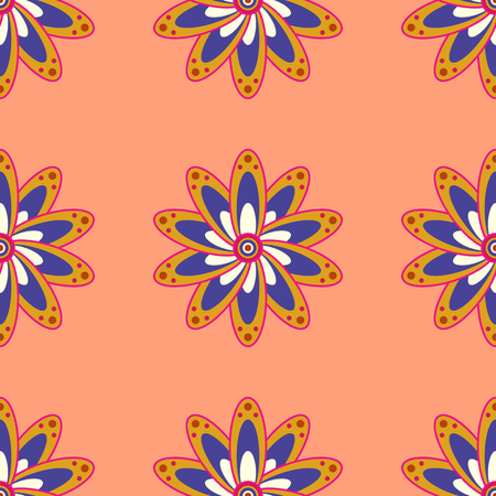 twee: Motley vector illustration. Seamless exotic pattern with many tropical flowers. Blooming jungle. Illustration