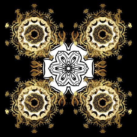 windstorm: Golden and doodles elements. Vector Merry Christmas Border in black colors on black background.