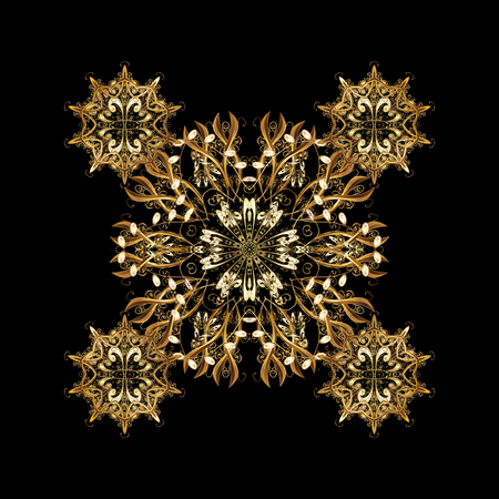 Golden pattern on golden background with golden isolated elements. Classic pattern. Vector traditional orient ornament. Çizim