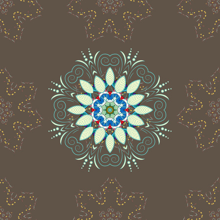 Abstract vector decorative ethnic mandala sketchy seamless pattern on colorful background. Illustration