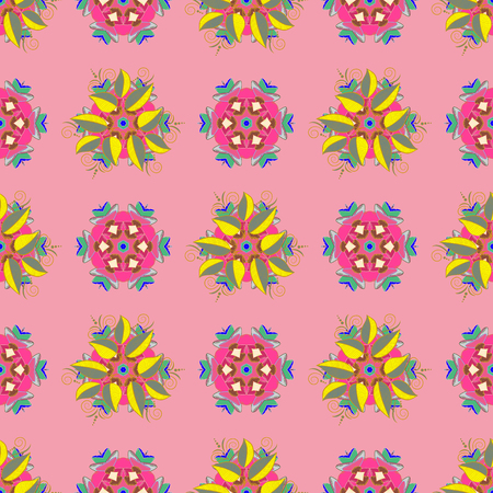 Vector illustration with many flowers. Trendy seamless floral pattern.