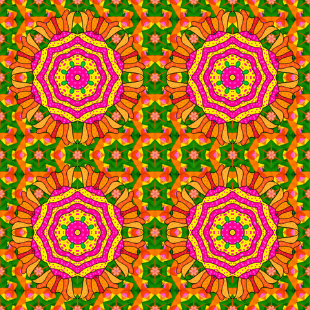 temporary: Vector seamless pattern tile with mandalas. Hand drawn sketch on colorful background. Perfect for printing on fabric or paper.