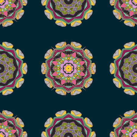 Invitation card. Vector vintage pattern. Mandala colored on a colorful background.