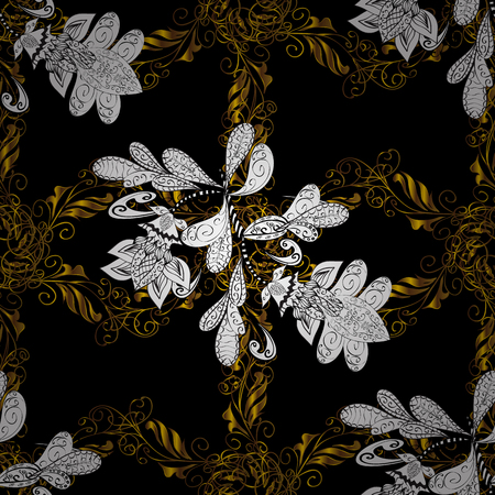 Christmas, snowflake, new year. Golden pattern on black background with golden elements. Seamless vintage pattern on black background with golden elements.