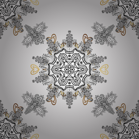 drapes: Christmas, snowflake, new year. Seamless vintage pattern on white background with golden elements and with white doodles.