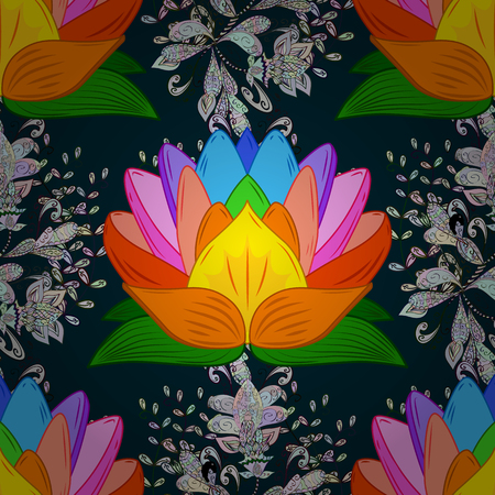 Vector seamless colorful floral pattern. Hand drawn floral texture, decorative flowers. Illustration
